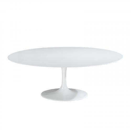 "Daisy 78"" Oval Fiberglass Dining Table in White"