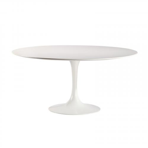 "Daisy 60"" Wood Top Dining Table in White"