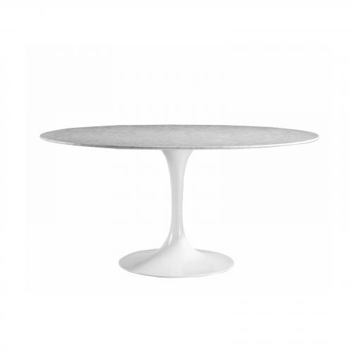 "Daisy 60"" Oval Artificial Marble Dining Table in White"