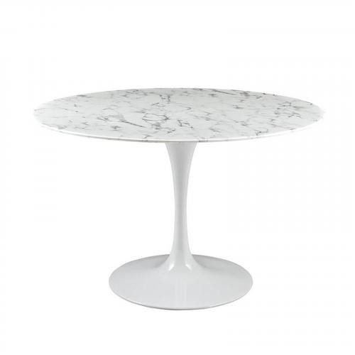 "Daisy 48"" Artificial Marble Dining Table in White"