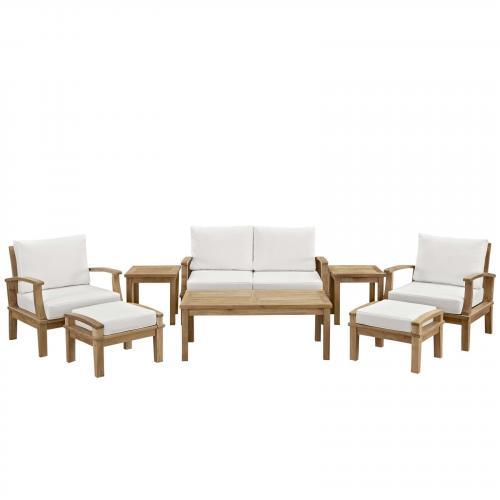 Marina 8 Piece Outdoor Patio Teak Sofa Set