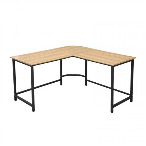 The Tristan Compact L-Shaped Office Desk in Natural, Black