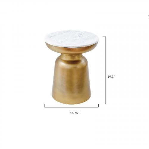 Signy Drum Stool with Marble Top in Antique Brass