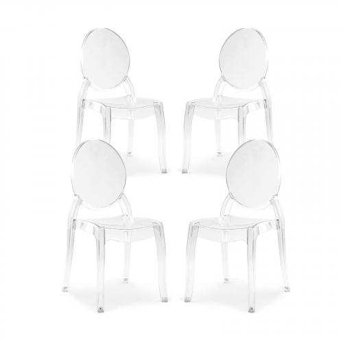 Criss Dining Side Chair in Clear (Set of 4)