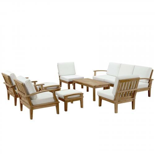 Marina 10 Piece Outdoor Patio Teak Sofa Set