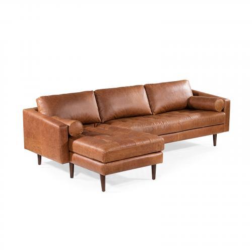 Napa Left Sectional Sofa in Cognac Tan