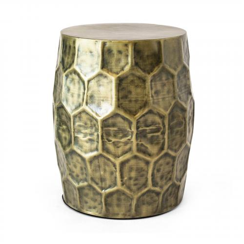 Delano Honeycomb Accent Table in Antique Brass
