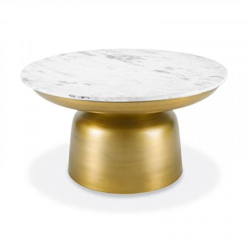 Signy Coffee Table with Marble Top in Antique Brass