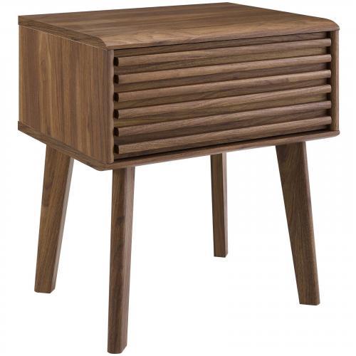Render End Table Nightstand in Walnut