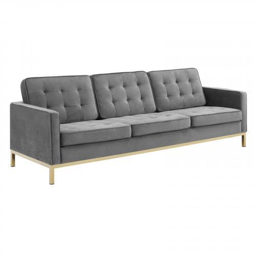 Loft Gold Stainless Steel Leg Performance Velvet Sofa