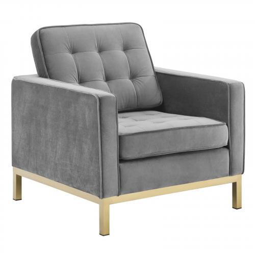 Loft Gold Stainless Steel Performance Velvet Armchair