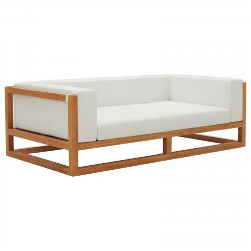 Newbury Accent Lounge Outdoor Patio Premium Grade A Teak Wood Sofa in Natural White