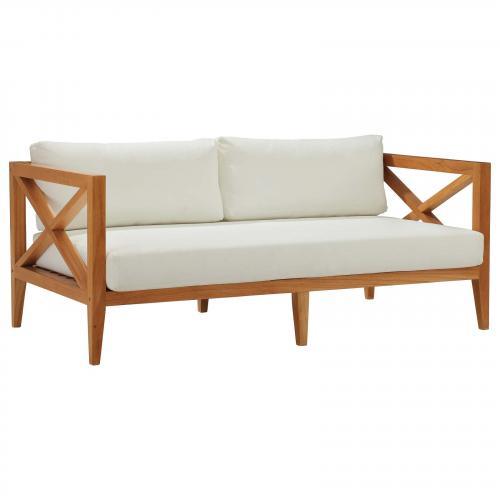 Northlake Outdoor Patio Premium Grade A Teak Wood Sofa in Natural White