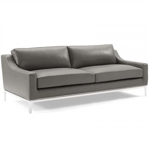 """Harness 83.5"""" Stainless Steel Base Leather Sofa"""