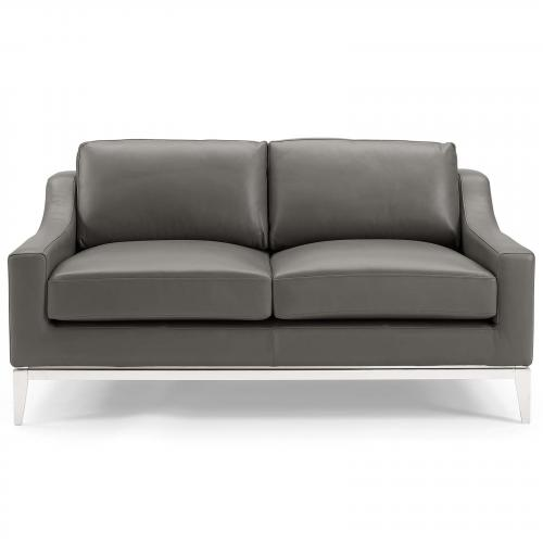 """Harness 64"""" Stainless Steel Base Leather Loveseat"""