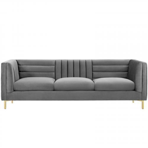 Ingenuity Channel Tufted Performance Velvet Sofa