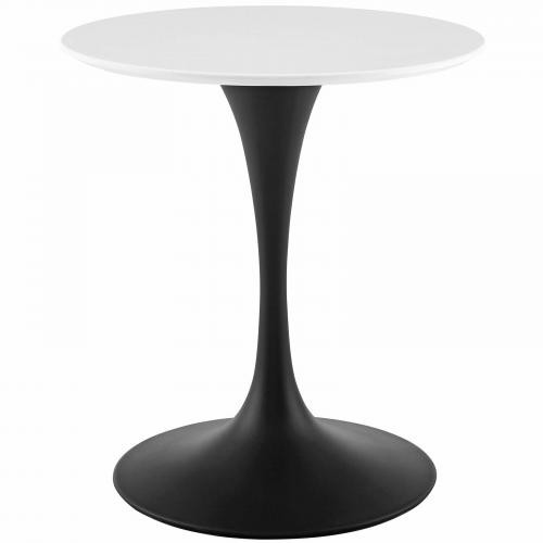"Lippa 28"" Round Wood Dining Table in Black White"