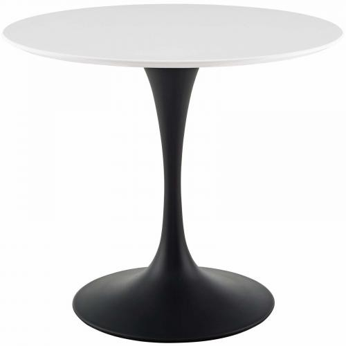 """Lippa 36"""" Round Wood Dining Table in Black White"""