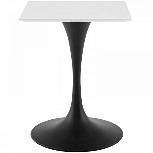 """Lippa 24"""" Square Wood Top Dining Table in Black White"""
