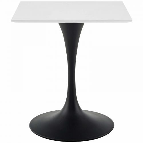 "Lippa 28"" Square Wood Top Dining Table in Black White"