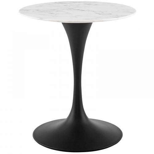 "Lippa 28"" Round Artificial Marble Dining Table in Black White"