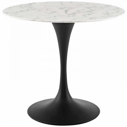 "Lippa 36"" Round Artificial Marble Dining Table in Black White"