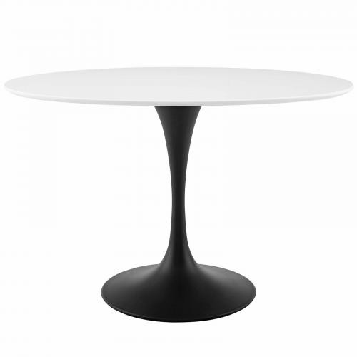 "Lippa 48"" Oval Wood Top Dining Table in Black White"