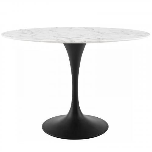 """Lippa 48"""" Oval Artificial Marble Dining Table in Black White"""