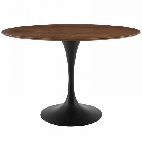 "Lippa 48"" Oval Walnut Dining Table in Black Walnut"