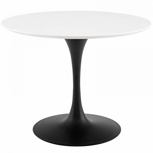 "Lippa 40"" Round Wood Dining Table in Black White"