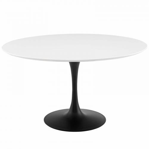 """Lippa 54"""" Round Wood Dining Table in Black White"""