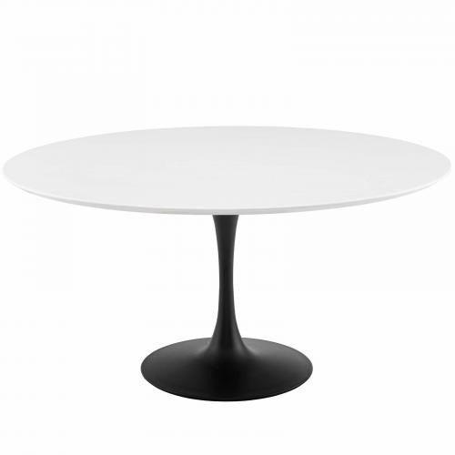 "Lippa 60"" Round Wood Dining Table in Black White"