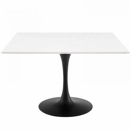 """Lippa 47"""" Square Wood Top Dining Table in Black White"""