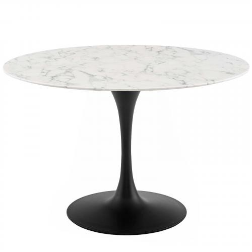 """Lippa 47"""" Round Artificial Marble Dining Table in Black White"""
