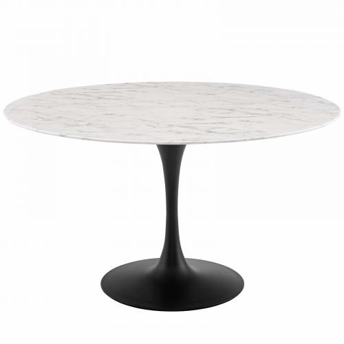 "Lippa 54"" Round Artificial Marble Dining Table in Black White"