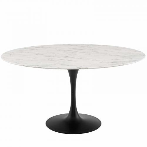 """Lippa 60"""" Round Artificial Marble Dining Table in Black White"""