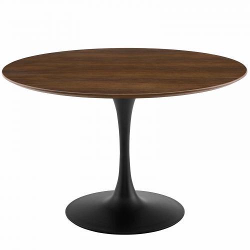 "Lippa 47"" Round Walnut Dining Table in Black Walnut"