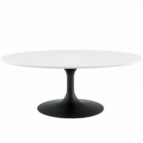 "Lippa 42"" Oval-Shaped Wood Coffee Table in Black White"