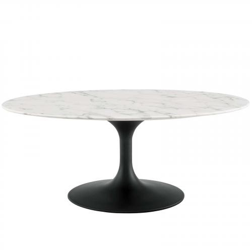 """Lippa 42"""" Oval-Shaped Artificial Marble Coffee Table in Black White"""