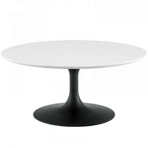 """Lippa 36"""" Round Wood Coffee Table in Black White"""