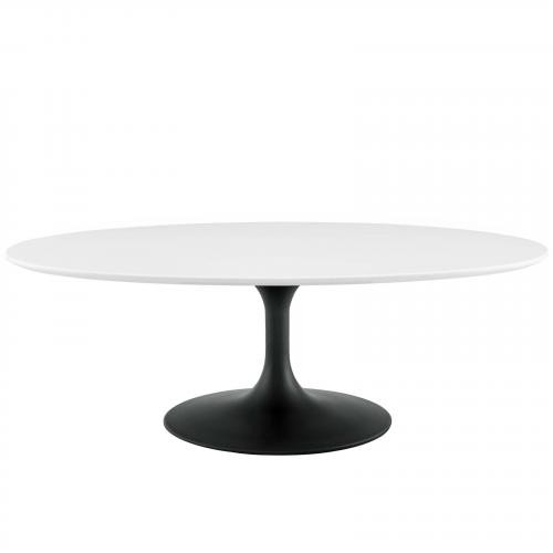 """Lippa 48"""" Oval-Shaped Wood Top Coffee Table in Black White"""