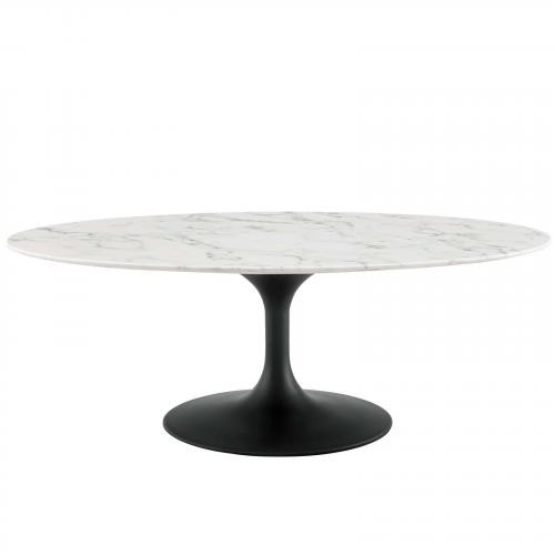 """Lippa 48"""" Oval-Shaped Artificial Marble Coffee Table in Black White"""