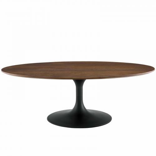 "Lippa 48"" Oval-Shaped Walnut Coffee Table in Black Walnut"