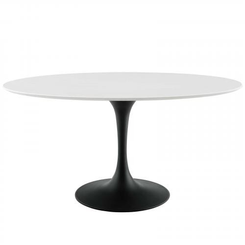 """Lippa 60"""" Oval Wood Top Dining Table in Black White"""