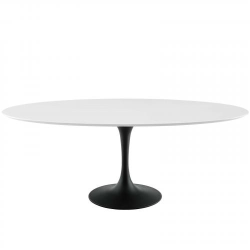 """Lippa 78"""" Oval Wood Dining Table in Black White"""