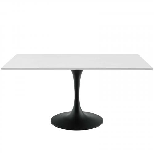 """Lippa 60"""" Rectangle Wood Dining Table in Black White"""