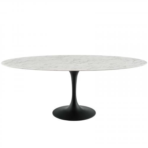 "Lippa 78"" Oval Artificial Marble Dining Table in Black White"