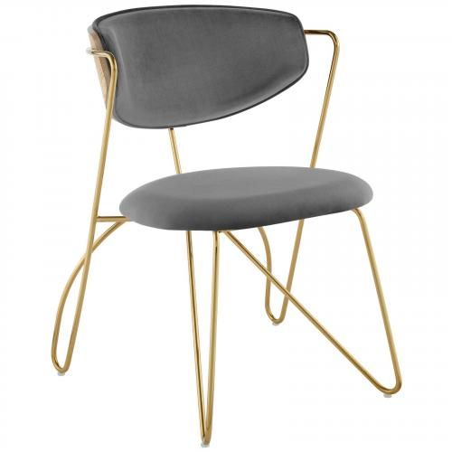 Prevail Gold Stainless Steel Dining and Accent Performance Velvet Chair in Gold Gray