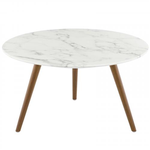 """Lippa 28"""" Round Artificial Marble Coffee Table with Tripod Base in Walnut White"""