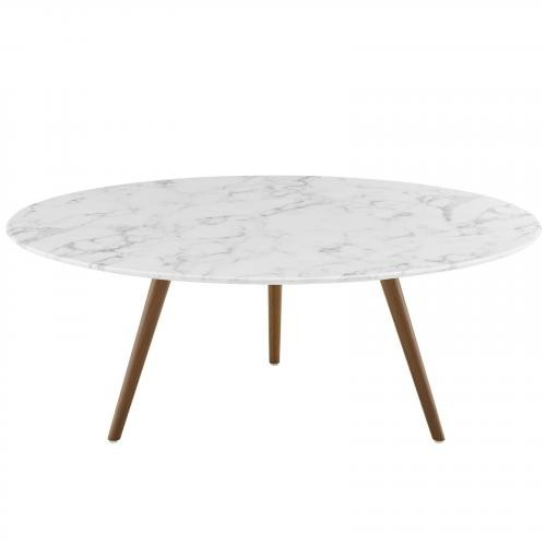 """Lippa 40"""" Round Artificial Marble Coffee Table with Tripod Base in Walnut White"""